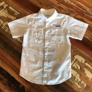 Columbia Boys' Tamiami ButtonDown Shirt, Med, Wht
